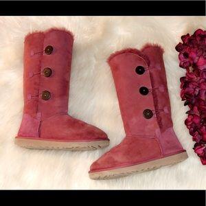 RARE‼️UGG Classic Tall Burgundy Bailey Button Boot